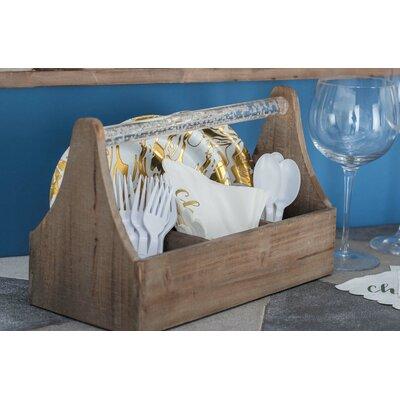 Ornelas Farmhouse Rectangular Wooden 4 Bottle Tabletop Wine Rack