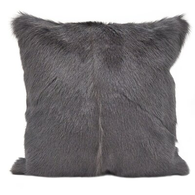 Oquinn Goat Fur Throw Pillow Color: Charcoal