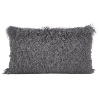 Oquinn Goat Fur Lumbar Pillow Color: Charcoal