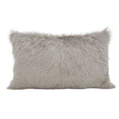 Oquinn Goat Fur Lumbar Pillow Color: Gray