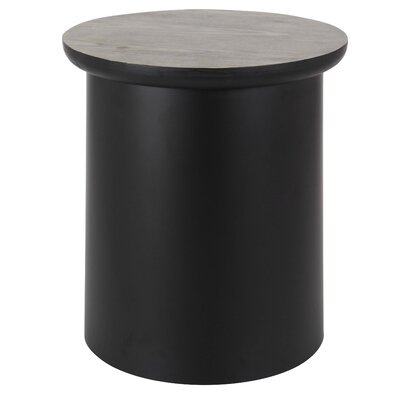 Osterley Round End Table with Storage Table Base Color: Black