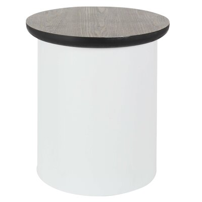 Osterley Round End Table with Storage Table Base Color: White