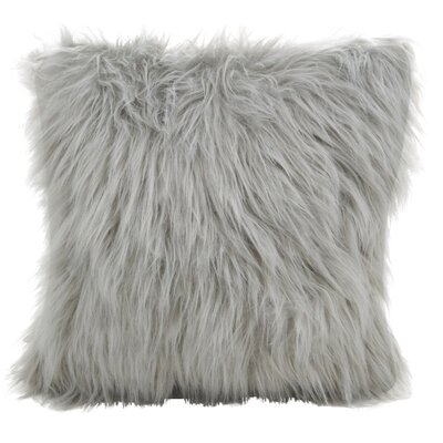 Hudspeth Faux Fur Long Hair Throw Pillow Color: Gray