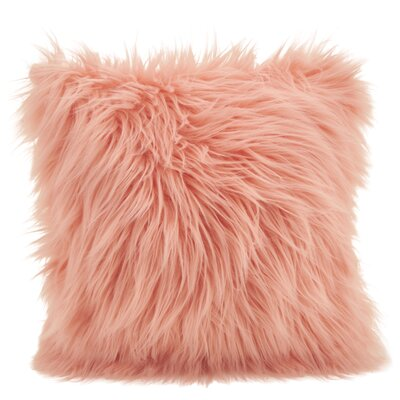 Hudspeth Faux Fur Long Hair Throw Pillow Color: Rose