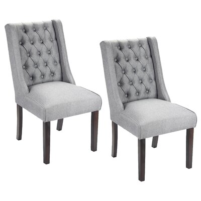 Plaistow Button Tufted Upholstered Dining Chair Upholstery: Dark Gray