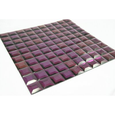 Mirror Reflect 1 x 1 Glass Tile in Purple