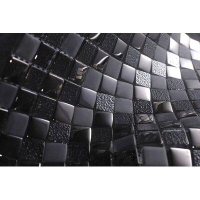 1 x 1 Glass Tile in Black/Gray