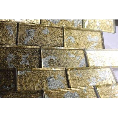 Foil 2 x 4 Glass Tile in Gold