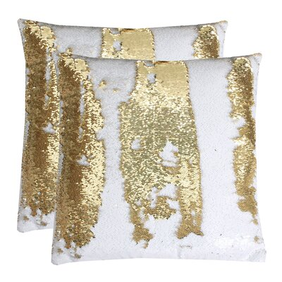 Fiorillo Reversed Shiny Throw Pillow Color: White Gold
