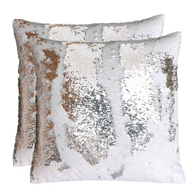 Fiorillo Reversed Shiny Throw Pillow Color: White Silver