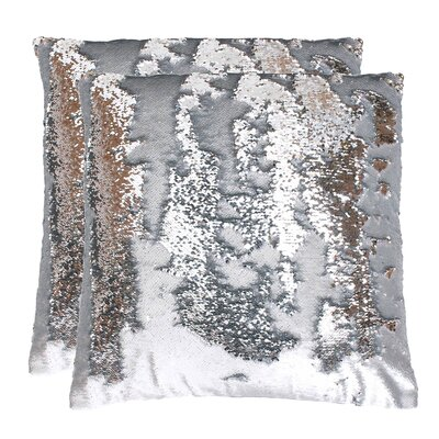 Fiorillo Reversed Shiny Throw Pillow Color: Silver Silver