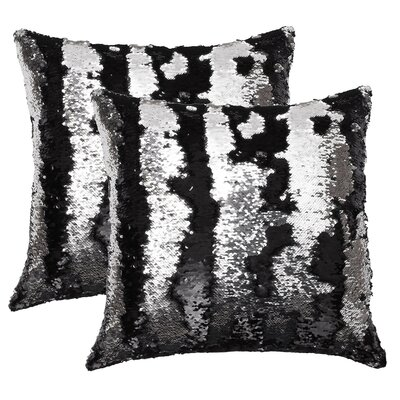 Fiorillo Reversed Shiny Throw Pillow Color: Black Silver