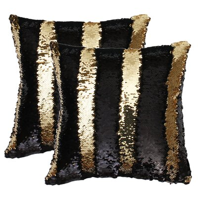 Fiorillo Reversed Shiny Throw Pillow Color: Black Gold