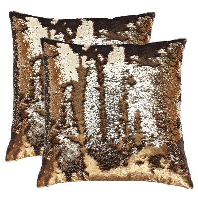 Fiorillo Reversed Shiny Throw Pillow Color: Copper Copper