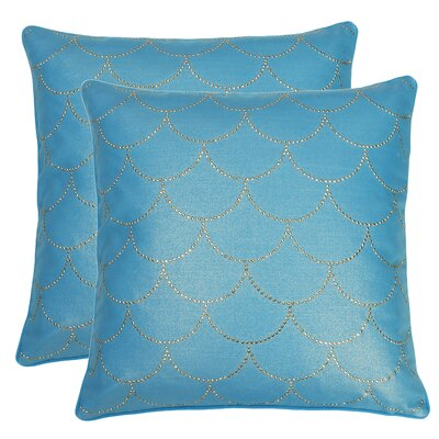 Laury Diamond Scale Throw Pillow Color: Caribbean Sea Gold