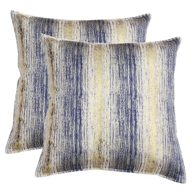 Hunsberger Jacquard Throw Pillow Color: Vintage Indigo Gold