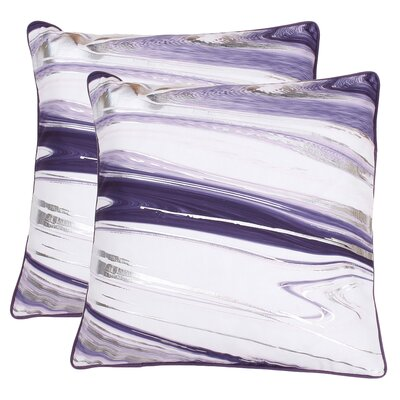 Hunsinger Raised Foil Throw Pillow Color: Vintage Violet Silver