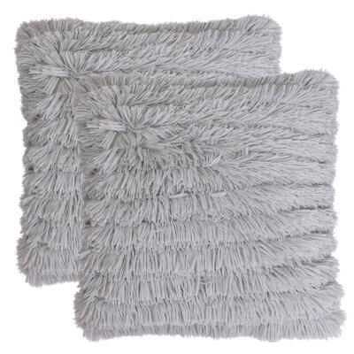 Hunsicker Long Pile Faux Fur Throw Pillow Color: Silver Gray