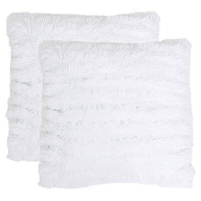Hunsicker Long Pile Faux Fur Throw Pillow Color: Bright White