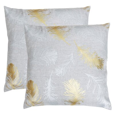 Kirby Feather Foil Printed Throw Pillow Color: Silver