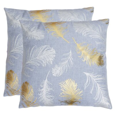 Kirby Feather Foil Printed Throw Pillow Color: Zen Blue