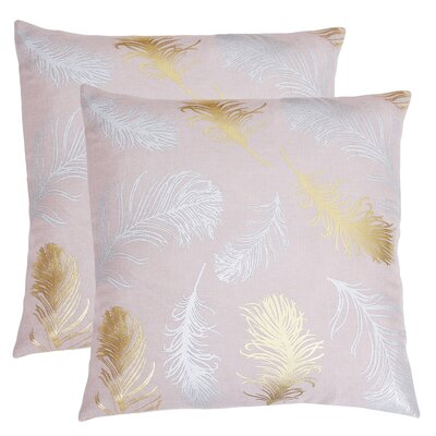 Kirby Feather Foil Printed Throw Pillow Color: Rose Smoke