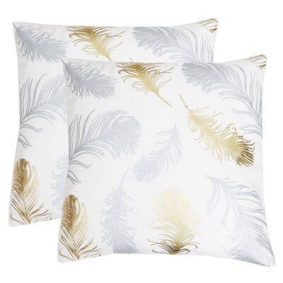 Kirby Feather Foil Printed Throw Pillow Color: Egret