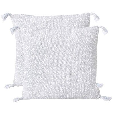 Riggs Reversible Dot Throw Pillow Color: Zen Blue/Bright White