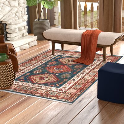 La Puente Blue/Red Area Rug Rug Size: Rectangle 8 x 10