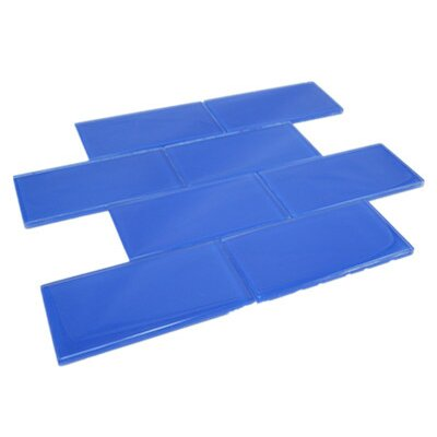 11.75 x 11.75 Glass Subway Tile in Blue