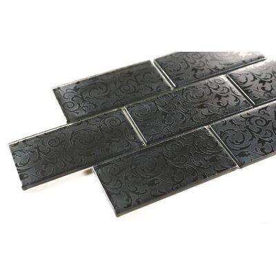 Deco 2x 4 Glass Subway Tile in Black