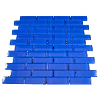 1 x 3 Glass Mosaic Tile in Blue