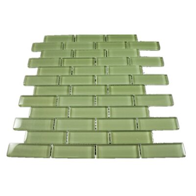 1 x 3 Glass Mosaic Tile in Green