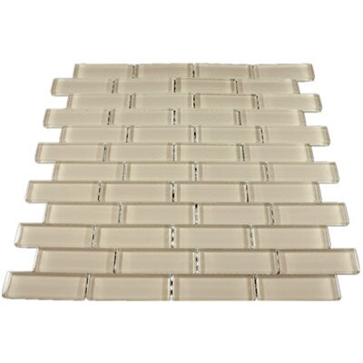 1 x 3 Glass Mosaic Tile in Beige