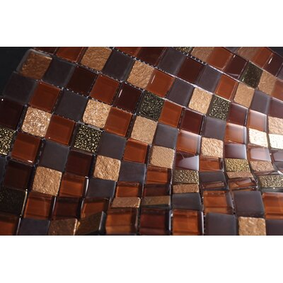1 x 1 Glass Tile in Brown/Gray