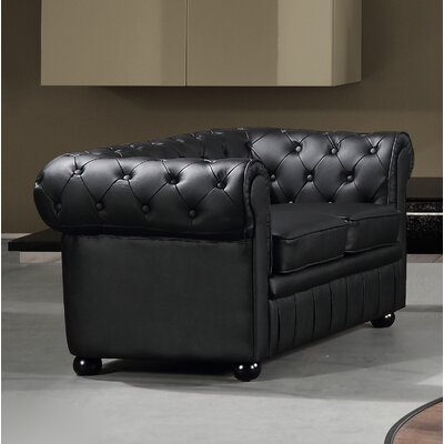 Kadlec Leather Chesterfield Loveseat Upholstery: Black