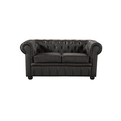Kadlec Leather Chesterfield Loveseat Upholstery: Brown