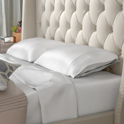 Antonetta Silky Soft 4 Piece Pillowcase Bed Sheet Set Color: White