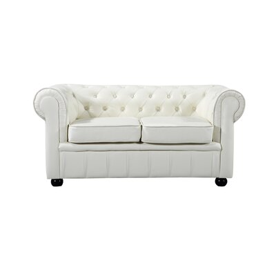 Kadlec Leather Chesterfield Loveseat Upholstery: Cream