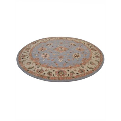 Thor Vintage Hand-Tufted Wool Blue/Cream Area Rug Rug Size: Round 10'