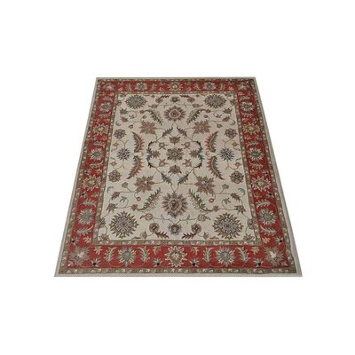 Thor Vintage Hand-Tufted Wool Beige/Red Area Rug Rug size: Rectangle 6 x 9