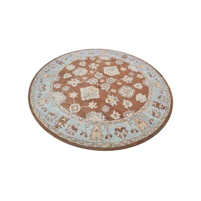Creamer Hand-Tufted Brown/Light Blue Area Rug Rug Size: Round 10