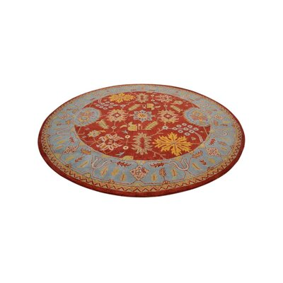 Hetzel Hand-Tufted Red/Blue Area Rug Rug Size: Round 10