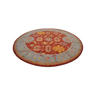 Hetzel Hand-Tufted Red/Blue Area Rug Rug Size: Round 10