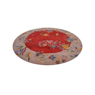 Hetzel Hand-Tufted Red/Camel Area Rug Rug Size: Round 10