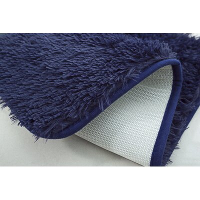 Efimenko 2-Piece Jasper Shaggy Bath Rug Set Color: Navy