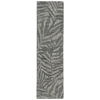 Claremont Olive Branches Hand-Tufted Wool Gray Area Rug Rug Size: Runner 2 x 76
