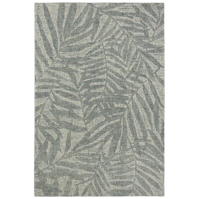 Claremont Olive Branches Hand-Tufted Wool Gray Area Rug Rug Size: Rectangle 5 x 76