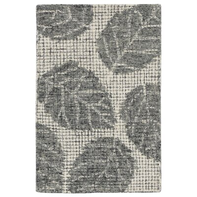 Claremont Leaf Hand-Tufted Wool Gray Area Rug Rug Size: Rectangle 2 x 3
