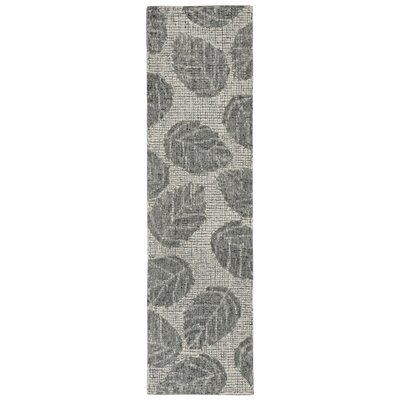 Claremont Leaf Hand-Tufted Wool Gray Area Rug Rug Size: Runner 2 x 76